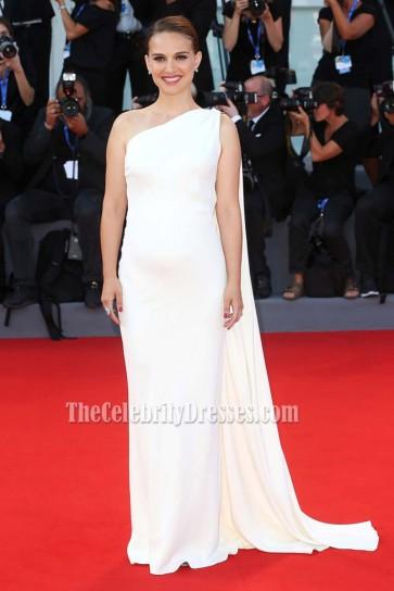 Natalie Portman Ivory Watteau Train One Shoulder Backless Formal Prom Dress 73rd Venice Film Festival 2