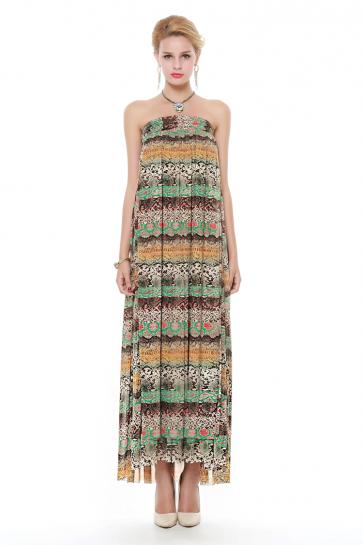 New Fashion Chiffon Print Maxi Dress