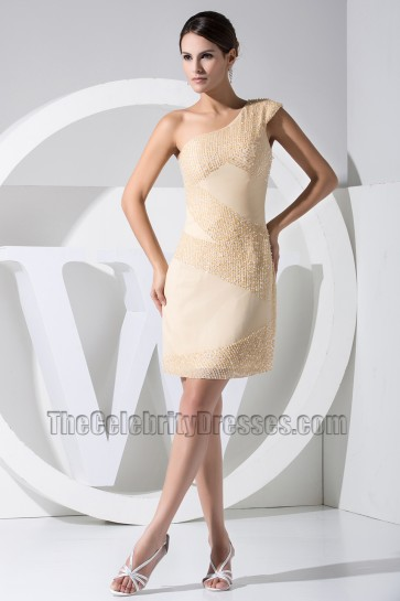 New Style Short One Shoulder Party Dress Cocktail Dresses With Beading