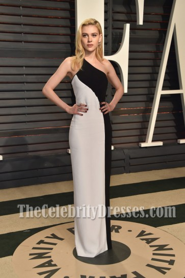 Nicola Peltz 2017 Vanity Fair Oscar Part White And Black One Shoulder Evening Dress 1