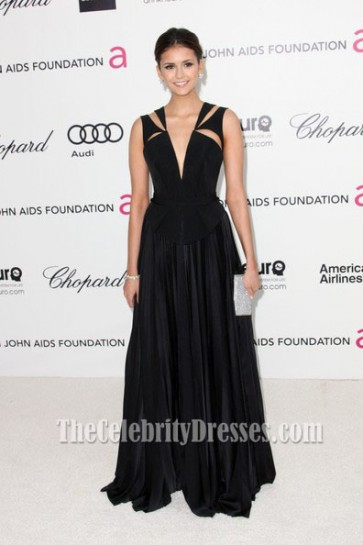 Nina Dobrev Black Evening Dress Prom Gown Oscars Viewing Party