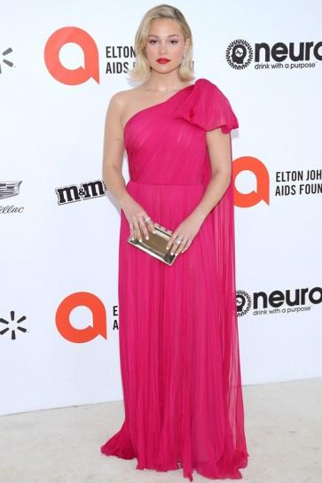 Olivia Holt One-shoulder Fuchsia Prom Dress