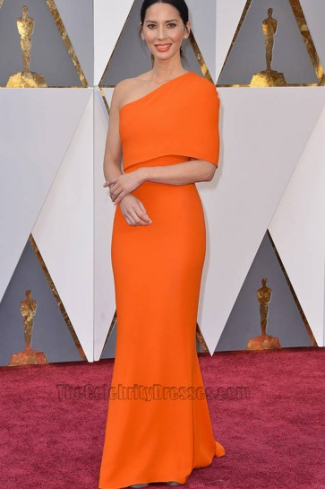 Olivia Munn 2016 Oscar Academy Awards Orange One-shouldered Prom Gown 1