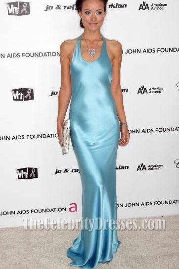 Olivia Wilde Sexy Blue Evening Dress 2009 Oscar Party Celebrity Dresses