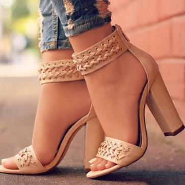 Open-toe Chunky Heels Sandals Shoes With Zipper For Women