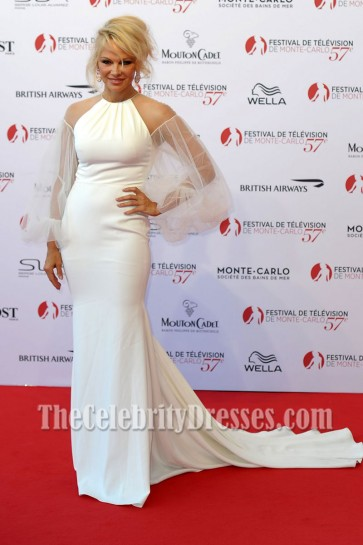 Pamela Anderson White Tulle Sleeves Mermaid Dress Monte Carlo TV Festival Opening Ceremony