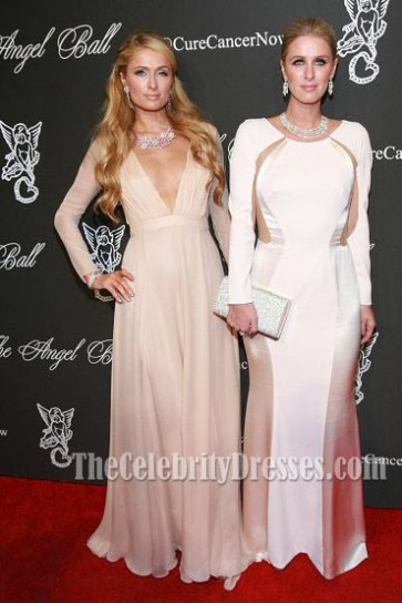 Paris Hilton Champagne Evening Dress Gabrielle's Angel Foundation Hosts Angel Ball 2014