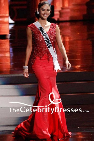 Pia Alonzo Wurtzbach Red Embroidered Mermaid Eevning Prom Gown Miss Philippines 2015