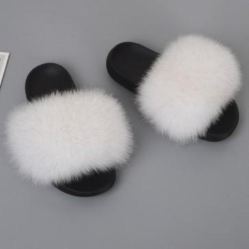 Plain Fluffy Open-toe Slippers