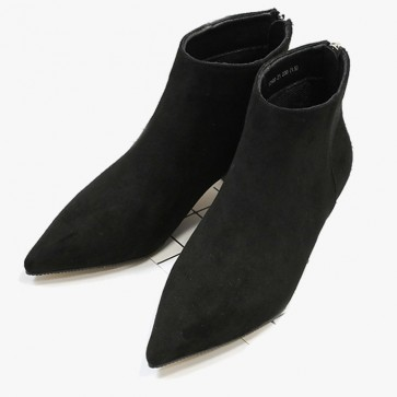 Pointed Toe Low Heels Ankle Boots Back With Zipper
