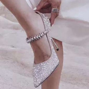Pointed Toe Wedding Shoes With Imitation Pearl