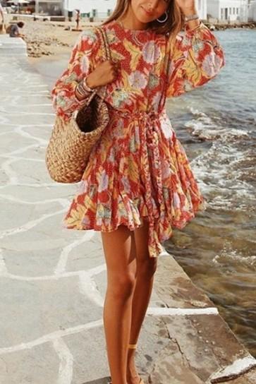 Print Ruffled Mini Dress