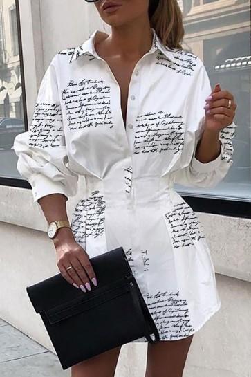 Printed Lapel Button Shirt Dress