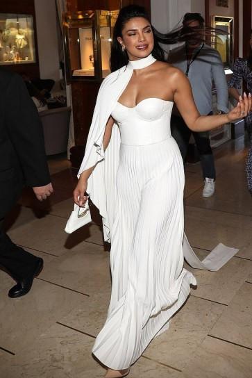 Priyanka Chopra White Capped Jumpsuit Cannes 2019