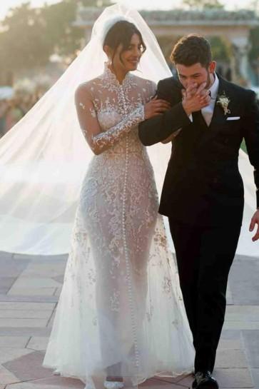 Priyanka Chopra White Luxury Applique Wedding Dress