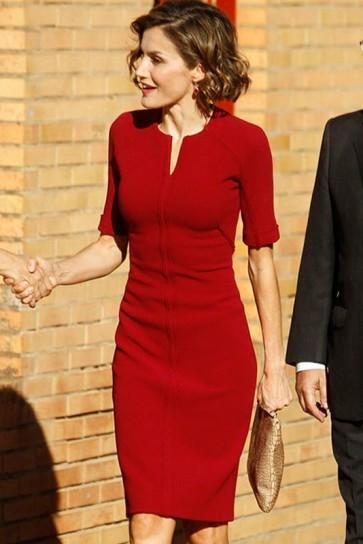 Queen Letizia of Spain Dark Red Short Dress