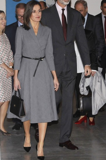 Queen Letizia of Spain Gray Cocktail Midi Dress