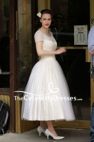 Rachel Brosnahan Ivory Vintage Tea Length Wedding Dress In Movie The Marvelous Mrs. Maisel