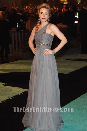 Rachel McAdams Silver One Shoulder Prom Dress Sherlock Holmes Premiere