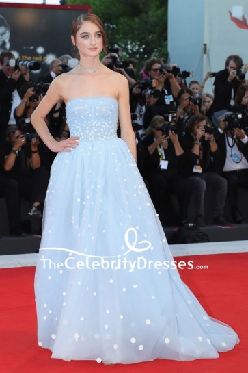 Raffey Cassidy Light Sky Blue Strapless Ball Gown 2018 Venice Film Festival