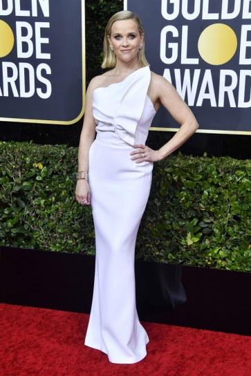 Reese Witherspoon  White One-shoulder Mermaid Formal Dress 2020 Golden Globes