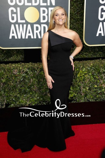 Reese Witherspoon Black One-shoulder Mermaid Evening Dress  2018 Golden Globe Awards Red Carpet