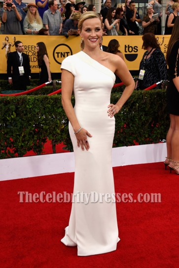 Reese Witherspoon White One-shoulder Evening Prom Gown 21st Annual Screen Actors Guild Awards