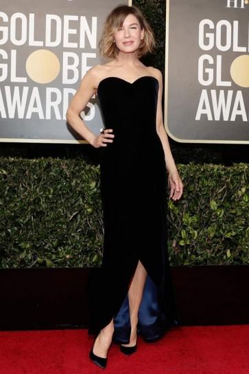 Renée Zellweger Dark Navy Strapless Dress 2021 Golden Globes