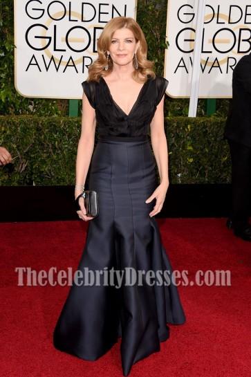 Rene Russo Black Deep V-neck Evening Dress Golden Globe Awards 1