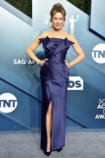 Renee Zellweger Dark Navy Strapless Formal Dress 2020 SAG Awards