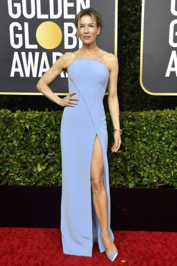 Renee Zellweger Sky Blue Strapless Formal Dress 2020 Golden Globes