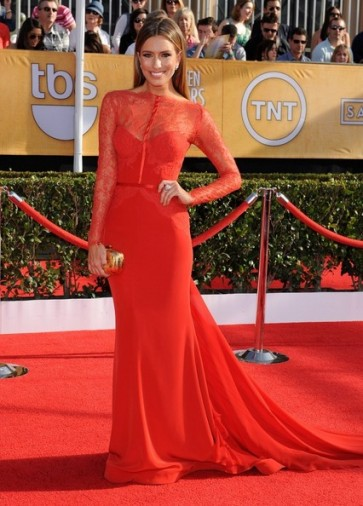 Renee Bargh Red Formal Dress 20th Annual Screen Actors Guild Awards