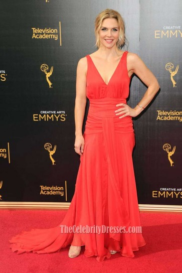Rhea Seehorn Red Chiffon Deep V-neck Evening Prom Gown Emmys 2016