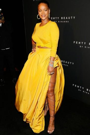 Rihanna Yellow Two Pieces Formal Dress Fenty Beauty