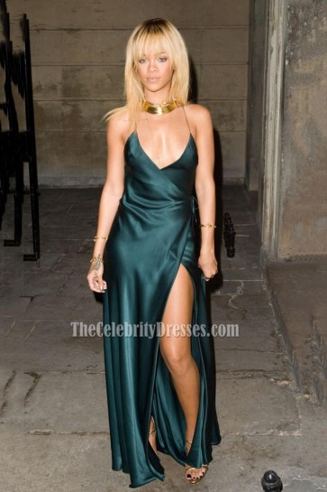 Rihanna Satin Deep V Evening Prom Gown Backless Sexy Celebrity Dress 1