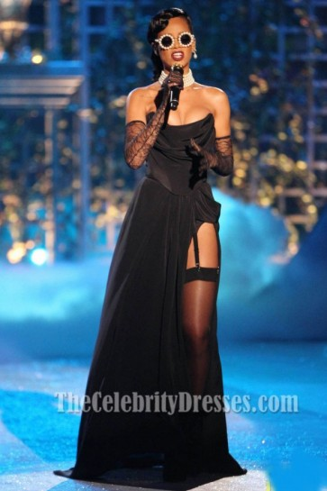 Rihanna Black Prom Dress 2012 Victoria Secret Fashion Show