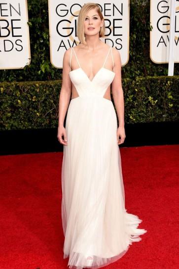 Rosamund Pike 2015 Golden Globe Awards Sexy Halter Open Back Dress