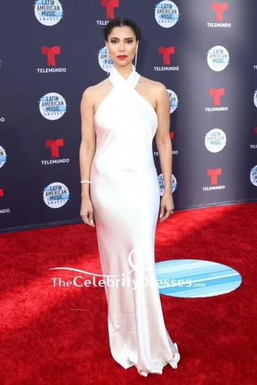 Roselyn Sanchez White Halter Sheath Evening Dress 2018 Latin American Music Awards
