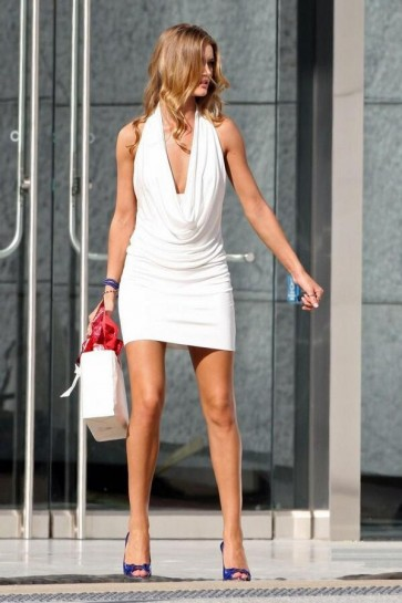 Rosie Huntington-Whiteley Short White Cocktail Dress Movie Transformers