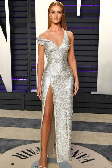 Rosie Huntington-Whiteley Silver Thigh-high Slit Evening Dress 2019 Vanity Fair Oscar Party