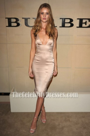 Rosie Huntington-Whiteley Sexy Satin Knee Length Dress the Burberry Body Launch Celebrity Dresses
