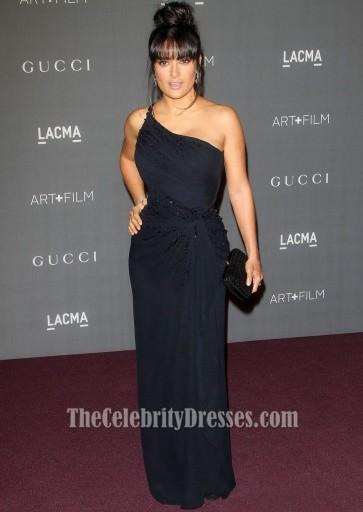 Salma Hayek Black One Shoulder Prom Gown LACMA 2012 Art + Film Gala
