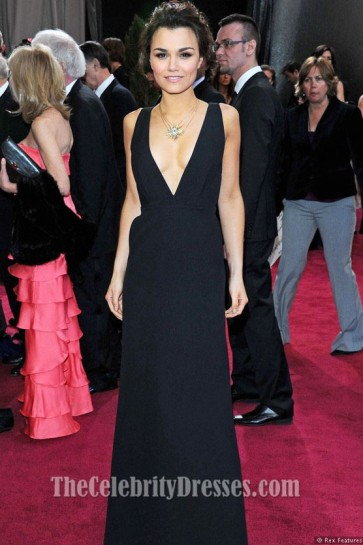 Samantha Barks V-neck Black Prom Evening Dress 2013 Oscars