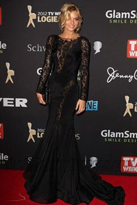 Samara Weaving Black Lace Evening Dress Logie Awards 2012 Red Carpet