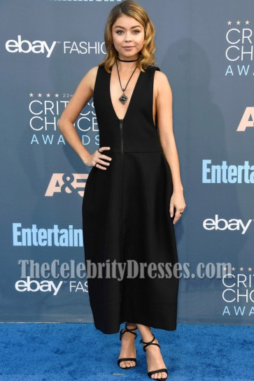 Sarah Hyland Black Deep V-neck Cocktail Dress 2016 Critics' Choice Awards 6