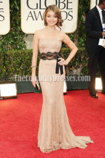 Sarah Hyland Lace Strapless Prom Dress Golden Globes Awards 2012 Red Carpet