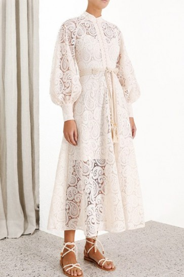 Sashes Lace Buttons Dress