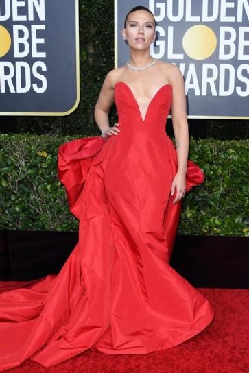 Scarlett Johansson Red Strapless Ball Gown 2020 Golden Globes