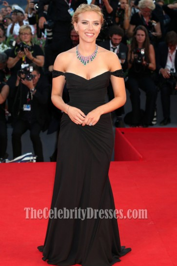 Scarlett Johansson Black Prom Dress 'Under The Skin' Venice Film Festival Premiere
