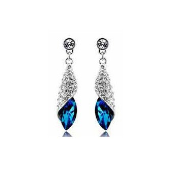 Sea Thoughts Peacock Blue Crystal Teardrop Earrings More Colors Available TCDE0005